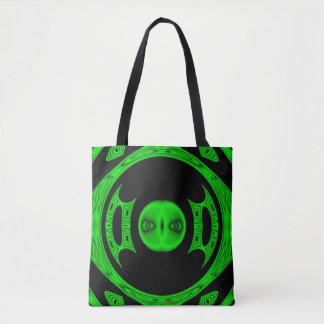 Bright Green Alien Abstract Tote Bag