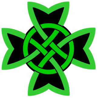 Bright Green and Black Irish Celtic Knot Design Standing Photo Sculpture