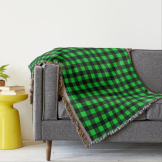Bright Green and Black Throw