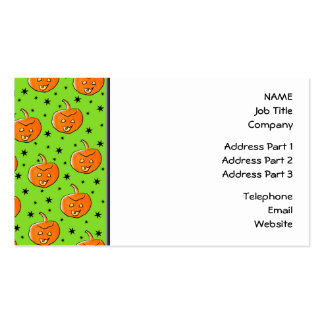 Bright Green and Orange Halloween Pattern Business Card