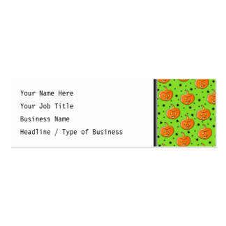 Bright Green and Orange Halloween Pattern Business Card Template