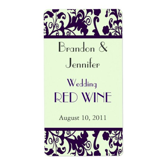 Bright Green and Purple Wedding Mini Wine Labels