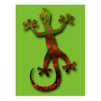 Bright Green and Red Orange Gecko Postcard