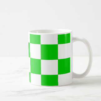 Bright Green and White Checkerboards Coffee Mug