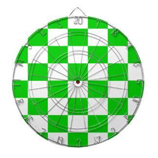 Bright Green and White Checkerboards Dartboard
