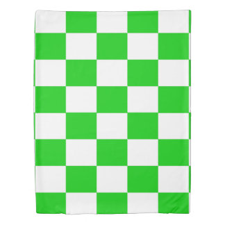Bright Green and White Checkerboards Duvet Cover
