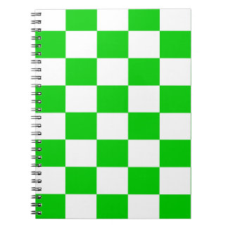Bright Green and White Checkerboards Notebooks