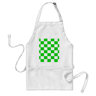 Bright Green and White Checkerboards Standard Apron