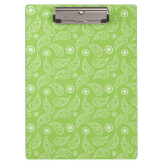 Bright Green and White Country Paisley Pattern Clipboards