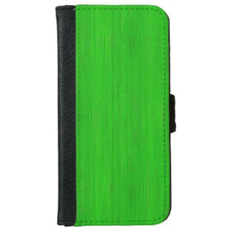 Bright Green Bamboo Wood Grain Look iPhone 6 Wallet Case
