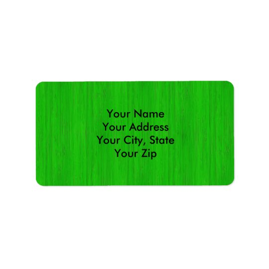 Bright Green Bamboo Wood Grain Look Label