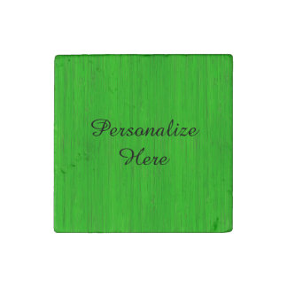 Bright Green Bamboo Wood Grain Look Stone Magnets