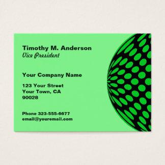 Bright Green Black Polka Dot mod circle Business Card