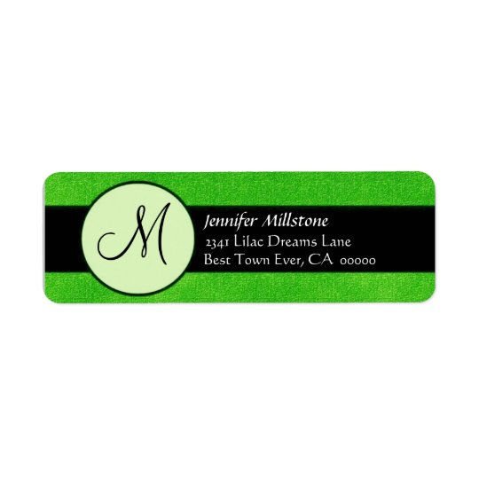 BRIGHT GREEN BLACK Wedding Monogram Address Label