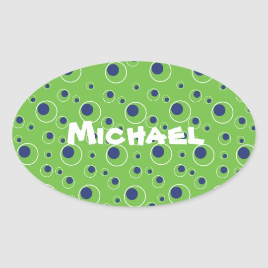 Bright Green Blue Circles Pattern Cute Stickers