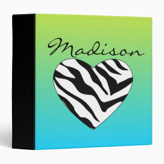 Bright Green & Blue Zebra Heart Vinyl Binder