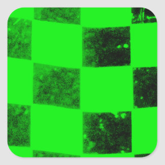 Bright Green Checkered Flag Square Sticker