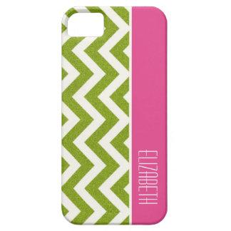 Bright Green Chevron, Pink Stripe iPhone 5 Case