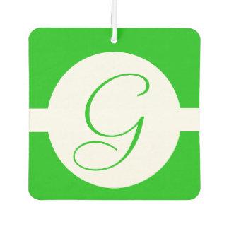 Bright Green Circle Monogram Car Air Freshener