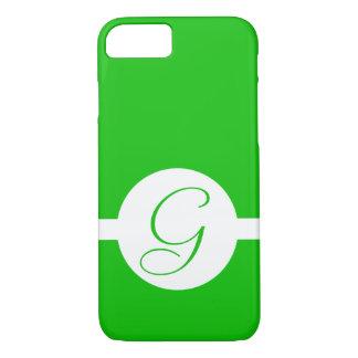 Bright Green Circle Monogram iPhone 8/7 Case