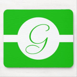 Bright Green Circle Monogram Mouse Pad