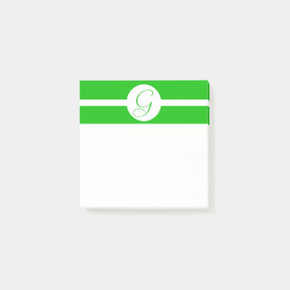 Bright Green Circle Monogram Post-it Notes