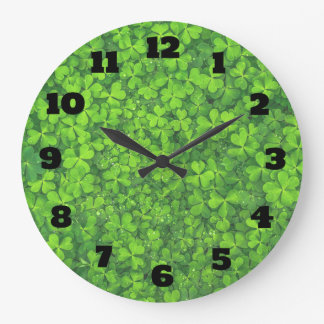 Bright Green Clover Leaves Background Large Clock
