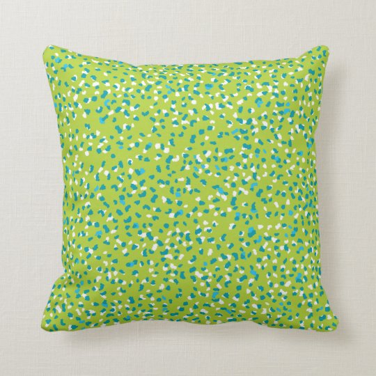 Bright Green Ditsy Leopard Pillow