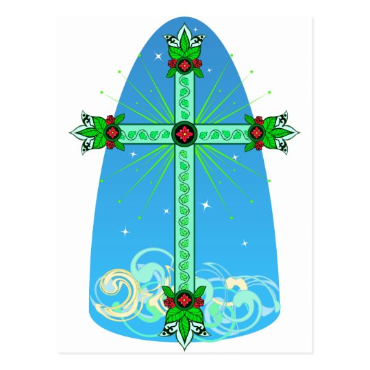 Bright green Easter Cross with stars Postcard