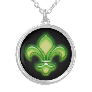 Bright Green Fleur de Lis on Black Silver Plated Necklace