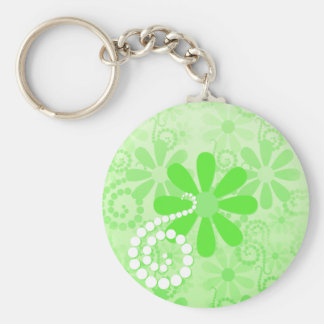 Bright Green Floral Cute Retro Daisy Flowers Basic Round Button Keychain