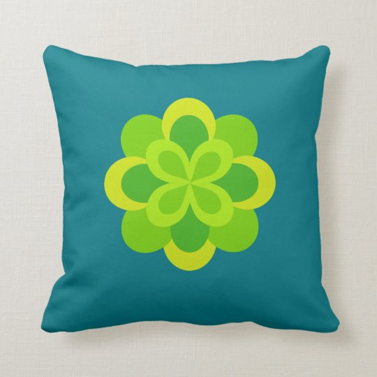 Bright Green Floral Decorative Throw Pillow