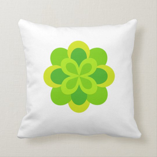 Bright Green Floral Throw Pillow
