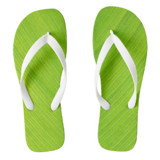 bright green fresh leaf flip flops