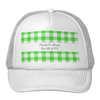 Bright green gingham pattern wedding favors trucker hat