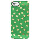 Bright Green Gold Glitter Dots Clear Phone Case