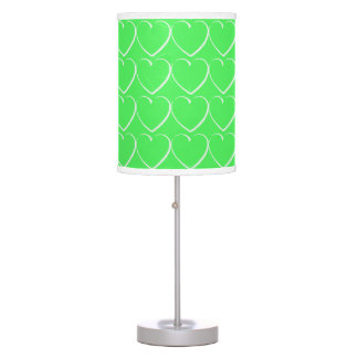 Bright Green Hearts Table Lamp