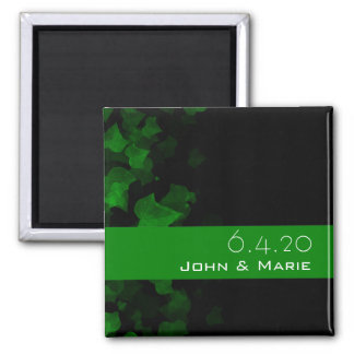 Bright Green Ivy Leaves Square Magnet