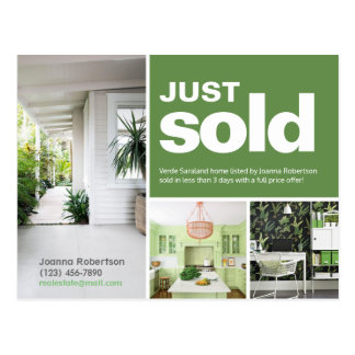 Bright green Just sold real estate advert template Postcard