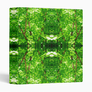 Bright Green Leafy Abstract 3 Ring Binder