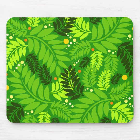 Bright Green Leaves Mouse Pad