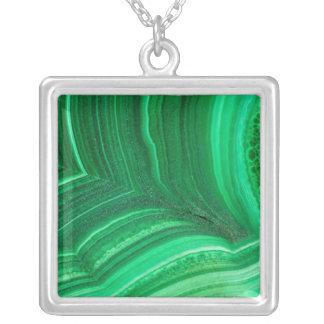 Bright green Malachite Mineral Silver Plated Necklace