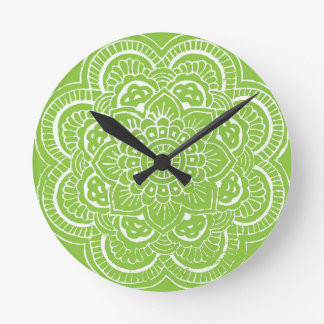 BRIGHT GREEN MANDALA WALL CLOCKS