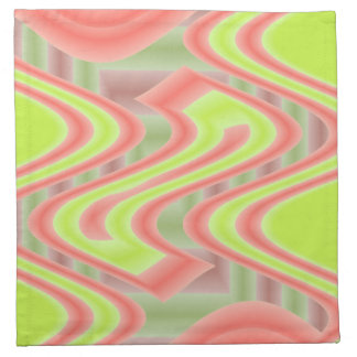 bright green orange mod abstract printed napkin