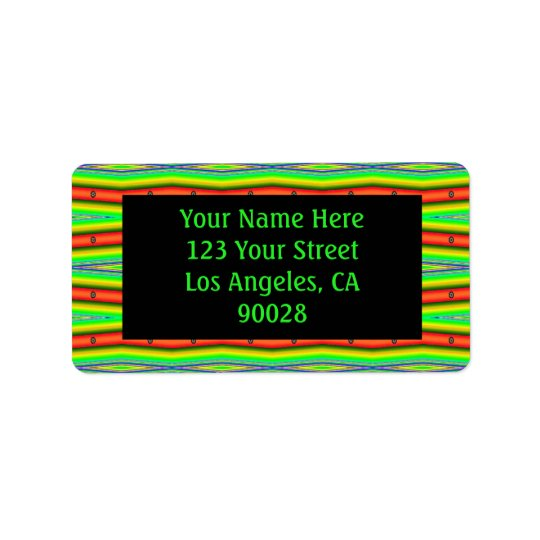 bright green orange stripes label
