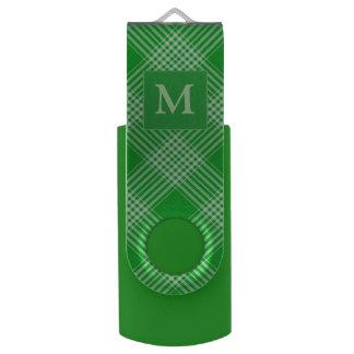 Bright Green Plaid USB Flash Drive