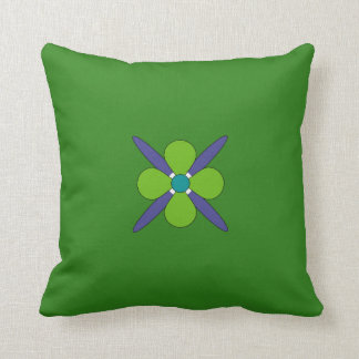 Bright Green, Purple & Blue Floral Decorative Throw Pillow