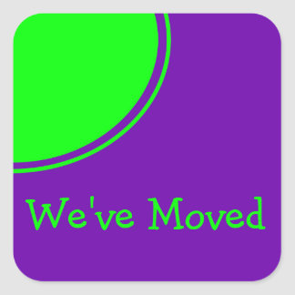 Bright Green Purple Weve Moved Announcement Square Sticker