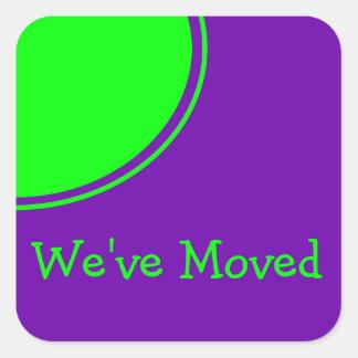 Bright Green Purple Weve Moved Announcement Square Sticker