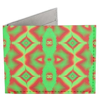 Bright green red fractal billfold wallet